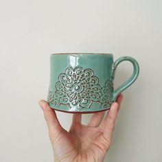 #mugshotmonday #studiopema #handmadepottery #madeinnorthcarolina #pottersofinstagram #insta_pottery #etsyseller #handbuilt #slabbuilt #doily #lacedoily #coffeemug #chai #mug #teacup #mintgreen #shabbychic #simple #陶芸 #セラミックス #ものづくり #手作り #マグカップ #ティーカップ #チャイ #コーヒーカップ #レースドイリー #ドイリー