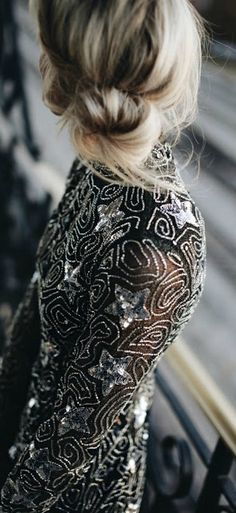 // Sequins + low bun.