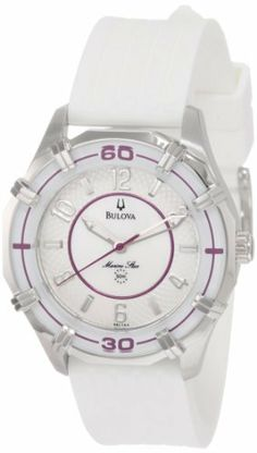 Bulova Women's 96L144 Solano Marine Star Rubber Strap Watch Bulova. $110.32. Quartz movement. Leather strap. Water resistant to 30 meters. White Mother of Pearl Dial. Flat mineral crystal