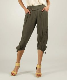 makes me so mad that this website doesn't accept returns at all bc I cant let myself spend a bunch of $ on something that may not fit or ends up being bad quality bc it happens 75% of time I order  clothing online Look at this #zulilyfind! Khaki Side-Tie Capri Pants #zulilyfinds