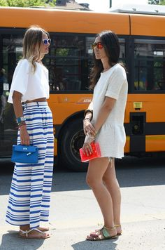 beautiful summer outfit fashion women style maxi skirt white top purse