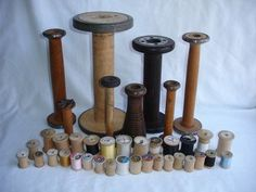 Vintage Old Wooden Silk Thread Spools Wood Bobbins