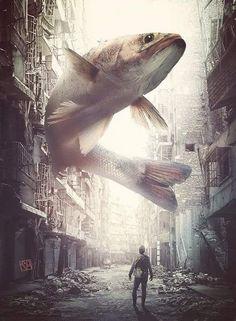 """Catching the Big Fish"" Artist Name: Karaska Surreal Photos, Surreal Art, Photomontage, Creative Photography, Art Photography, Giant Animals, Open Art, Surrealism Photography, Arte Horror"