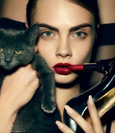 Cara Delevingne. Neutral eyes & red lips. l Manic Panic lipstick in Blood Red http://www.rivithead.com/catalog/blood-red-lipstick.html?gclid=CPbT3uDalbUCFeGDQgodYAsAOw