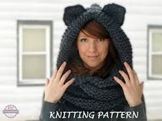 knitting pattern hooded cat cowl cat ears hooded infinity scarf knitting pattern knit hooded animal scarf pattern cat beanie hat pattern,animal ear hat knitting pattern - www. Infinity Scarf Knitting Pattern, Knitting Patterns, Hooded Cowl, Knitted Cat, Super Bulky Yarn, Triangle Scarf, Beanie Hats, Knit Hats, Knit Beanie
