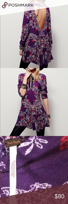 """Free People Purple Smooth Talker Floral Tunic S Free People Women's Purple Smooth Talker Floral Print Tunic in size small. Back cut out. Side pockets  Measures approx laying flat: 32"""" longest length 20.6"""" Bust  19.5""""waist 23"""" hip 25"""" sleeve  Great condition Free People Dresses Long Sleeve"""