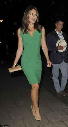 What a gem: Elizabeth Hurley once again proved herself to be a timeless beauty as she enjoyed a star-studded dinner in London on Tuesday night alongside Trinny Woodall, Charles Saatchi and David Walliams
