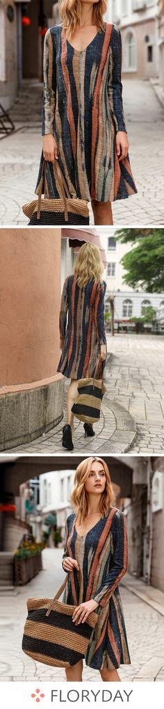 Geometric Long Sleeve Above Knee A-line Dress, geometric print, long sleeve dress, A-line dress, fashion dress. Dress Fashion, Fashion Outfits, Trendy Fashion, Moda Fashion, Womens Fashion, Depeche Mode, Pretty Dresses, Floryday Dresses, Elegant Dresses