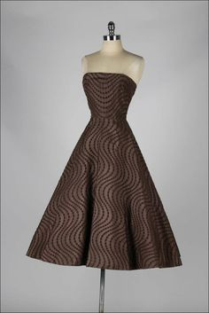 1950's Emma Domb Chocolate Eyelet Cocktail Dress
