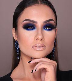 Glam Makeup, Blue Eye Makeup, Eye Makeup Tips, Makeup Set, Smokey Eye Makeup, Love Makeup, Simple Makeup, Eyeshadow Makeup, Hair Makeup