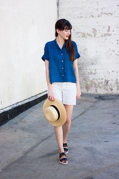 Minimalist Style Blogger wearing Everlane, Square Linen Shirt, White Denim Shorts, Everlane Street Sandal, Straw Boater Hat, Minimalist Summer Style