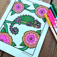It's the day before Christmas Eve and it feels like spring.  #zentangle #zentangleart #chameleon #paisnhazeanimalbook #handdrawn #adultcoloringbook #etsyseller