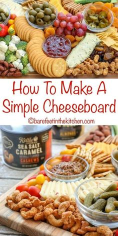 How To Make A Simple Cheeseboard - get all the tips at Charcuterie And Cheese Board, Charcuterie Platter, Cheese Boards, Party Food Platters, Cheese Platters, Simple Cheese Platter, Appetizers For Party, Appetizer Recipes, Party Dips