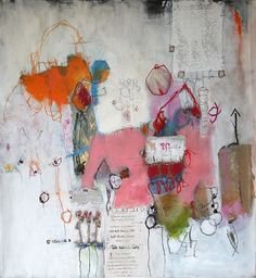 """""""Mixte media"""" nadine bourgne Love the centralised clustered composition. Love the colours  Love the scrawly markings"""