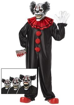 This Last Laugh Clown Costume is a scary twist on the circus theme. This is why some people are scared of clowns!