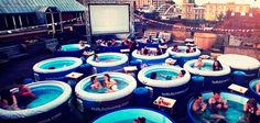 Summer is coming so keep an eye out for Hot Tub Cinema in New York London and Ibiza to pop back up and enjoy your movie in style. More unique movie theaters - link in bio by playboy Jacuzzi, Budapest, Newport, Cinemas In London, Places To Travel, Places To Go, Cinema Party, Notting Hill, The Originals