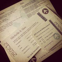 Angelfins Wedding Stationery 'Vintage Style Parchment Travel Ticket Invitation' at www.theglasgowgirlsweddingguide.com