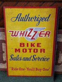 1940s Whizzer Bike Motor Sales & Service Flanged Sign