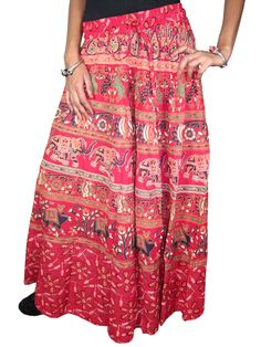 Maxi Skirt- Red Cotton Printed Womens Summer Long Skirts Indian Clothing