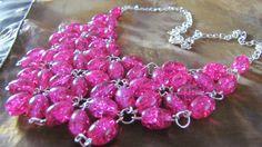 Růžové mámení Náhrdelník z růžových práskaných korálků
