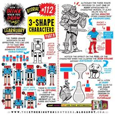 """365 Likes, 4 Comments - The Etherington Brothers (@etheringtonbrothers) on Instagram: """"Here's PART TWO of my how to THINK when you draw THREE-SHAPE CHARACTERS tutorial for #LEARNUARY!…"""""""