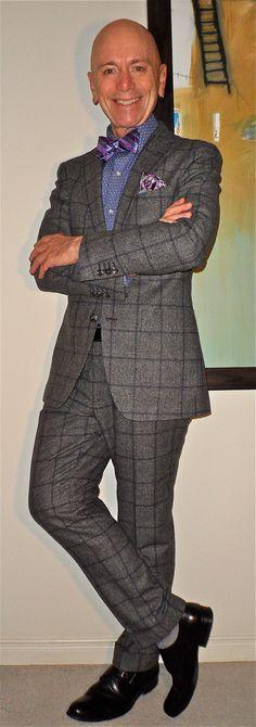 Suitsupply windowpane check suit, Perry Ellis shirt, blue + purple bow-tie + P.S., Pegabo monk-straps