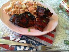 BBQ sült oldalas-vegyes káposztasalátával0 Bbq, Meat, Chicken, Food, Barbecue, Barrel Smoker, Essen, Meals, Yemek