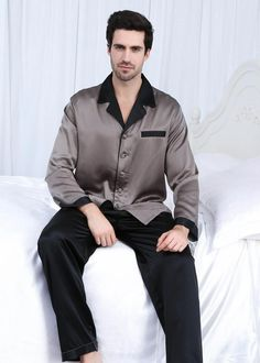 f79ae2bc86 22 momme deep contra silk pajamas set for men  silkpajamas Silk Pajamas For  Men
