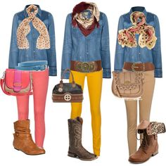 """""""Ideas for fall outfits with denim shirt?"""""""