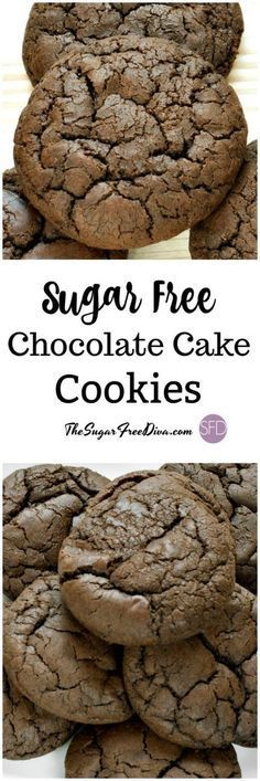 These are so easy to make and they taste so delicious too. This is The recipe for Sugar Free Chocolate Cake Cookies that are amazing! Sugar Free Deserts, Sugar Free Sweets, Sugar Free Cookies, Cake Cookies, Recipe For Sugar Free Chocolate Cake, Diabetic Chocolate Cake, Sugar Free Recipes Dinner, Chocolate Cookies, Sugar Free Snacks