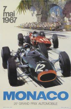 grand prix automobile de monaco 1967 : 1967 affiches anciennes de TURNER
