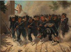 Il dipinto raffigura un gruppo di bersaglieri con le armi in pugno che corre per aprire la breccia di porta Pia. A destra un trombettiere sta cadendo colpito.