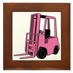 Pink Forklift Framed Tile