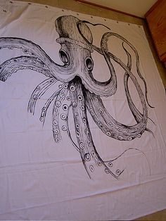 Handpainted Octopus Shower Curtain and Vintage Nautical Decor