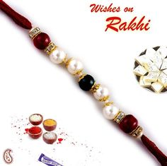 Picture of Handmade Rakhi with Pearls and Glass Beads
