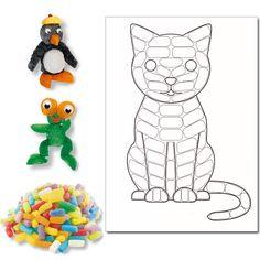 """Kit de 100 flocons """"Playmaïs"""" + 1 carte à décorer """"Chat""""                                                                                                                                                                                 Plus"""