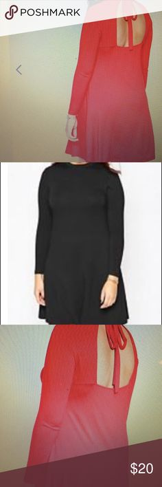 Black Babydoll Dress Black Babydoll Dress open back w/ a bow back NWT size 16 ASOS Dresses Long Sleeve