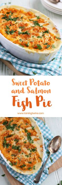 A tasty, family friendly sweet potato fish pie. Made with delicious salmon, prawns and parsley sauce. Fish Pie Healthy, Healthy Prawn Recipes, Delicious Healthy Food, King Prawn Recipes, Pescatarian Recipes, Healthy Eating Recipes, Veggie Recipes, Delicious Recipes, Pie Recipes