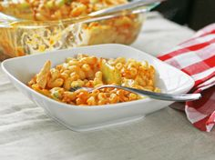 Sounds good Minus the Blue Cheese!    Blogger Sarah W. Caron from Sarah's Cucina Bella combines creamy mac and cheese with spicy Buffalo chicken in this delicious comfort food dish.