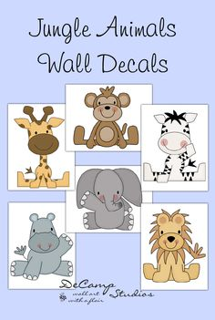 Baby jungle animals wall decals for baby boy or girl safari zoo nursery room decor. Includes six different animals; zebra, lion, elephant, monkey, hippo, and giraffe #decampstudios
