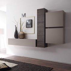 Amazing Wall Storage Items For Your Contemporary Living Room - Floating wall storage is a mixture of sensible storage and residential décor vogue the place the storage unit is mounted to the wall and is used to handle CDs and DVDs. Hall Furniture, Living Room Furniture, Furniture Design, Office Furniture, Living Room Tv, Home And Living, Interior Decorating, Interior Design, Wall Storage