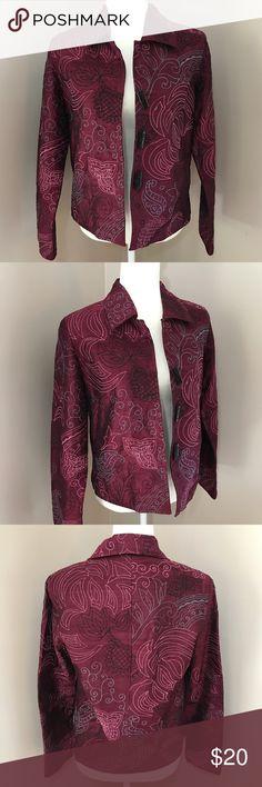 "Yak Magik  embroidered Blazer jacket Beautiful 3 Button multi colored Blazer jacket. 100% silk material. Size small pit to pit 19"" pit to hem 13"". Bin 5 Yak Magik Jackets & Coats Blazers"