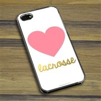 Lacrosse Phone Case Heart with Gold Lacrosse