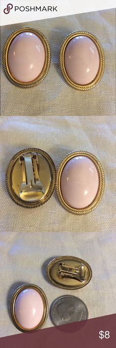 Vintage Pale Pink and Gold Clip on Earrings Vintage Pale Pink and Gold Clip on Earrings in excellent vintage condition Jewelry Earrings