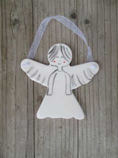 Angel,Pottery Guardian Angel,Baptism Gift,White,Minimalist Angel,Cute Angel,Gift for Daugther,Godmothers Gift,First Communion Gift Girl by TatjanaCeramics on Etsy