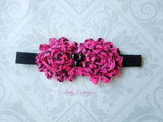 ON SALE!!   Hot Pink and Black Damask Shabby Headband  06 by babyzdesigns, $5.00