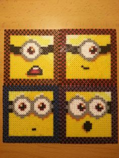 Minions coasters hama perler beads by Factory Beads