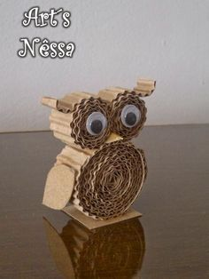 Stone Owl Owl Crafts, Paper Crafts For Kids, Animal Crafts, Diy For Kids, Arts And Crafts, Cardboard Box Crafts, Cardboard Sculpture, Paper Owls, Recycled Crafts