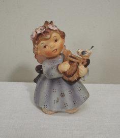 Vintage Lefton 149 Angel Figurine with Lyre Harp & Bird
