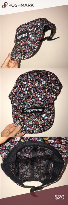 Supreme Floral Hat / Cap Adjustable back. Brand new. In perfect condition. Floral pattern. Flat bill. Flexible cloth material. Supreme Accessories Hats